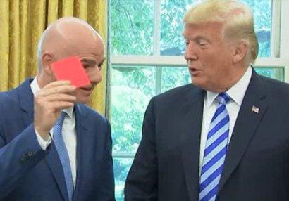 FIFA prezidenti Trampa qırmızı kart göstərdi (FOTO/VİDEO)