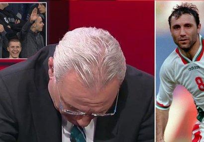 Əfsanəvi futbolçu canlı yayımda göz yaşı tökdü - VİDEO