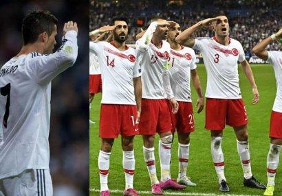 Ronaldo da əsgər salamı verib: Onlara olar, Türkiyəyə yox? - FOTOLAR