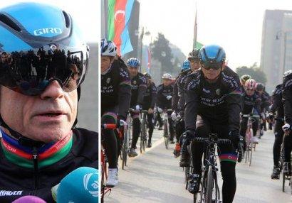 Mədət Quliyev dayanmadan 7 saatdan çox velosiped sürdü - VİDEO