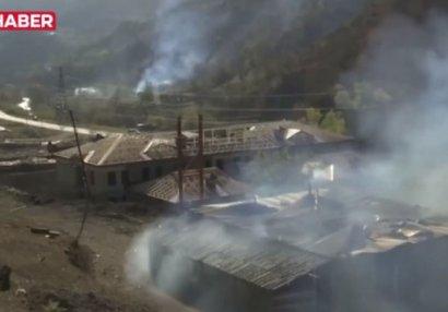 Ermənilər indi də Ağdamda evləri yandırır - VİDEO