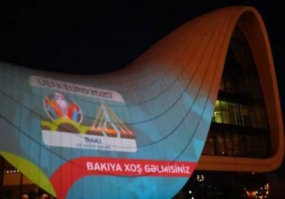 Heydər Əliyev Mərkəzi üzərində AVRO-2020 iştirakçılarınin görüntüləri nümayiş etdirildi