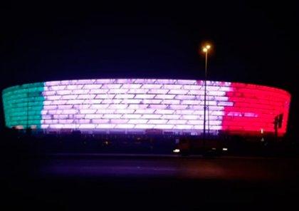 Бакинский олимпийский стадион окрасился в цвета флага Италии